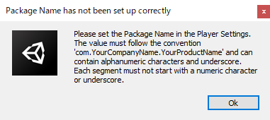 package name has not been set up correctly